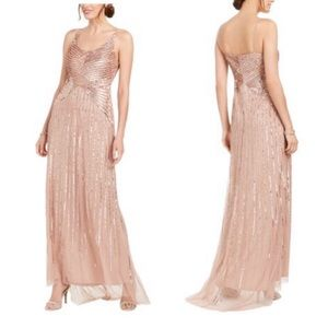 Adrianna Papell NWT rose gold sequin maxi dress